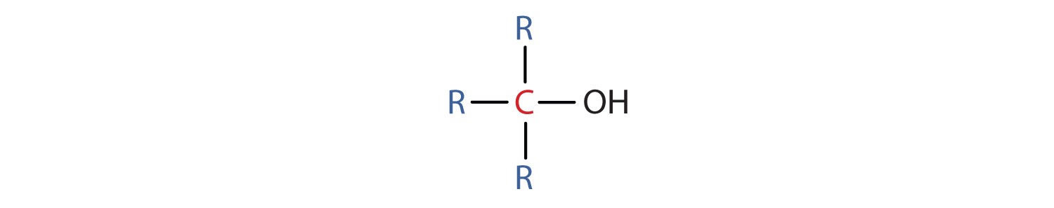 General representation of tertiary alcohol: Functional group hydroxyl bound to a tertiary carbon.