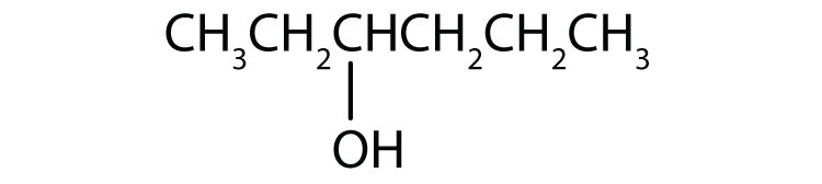 Condensed formula of a six-Carbon secondary alcohol with functional group attached to Carbon 3.