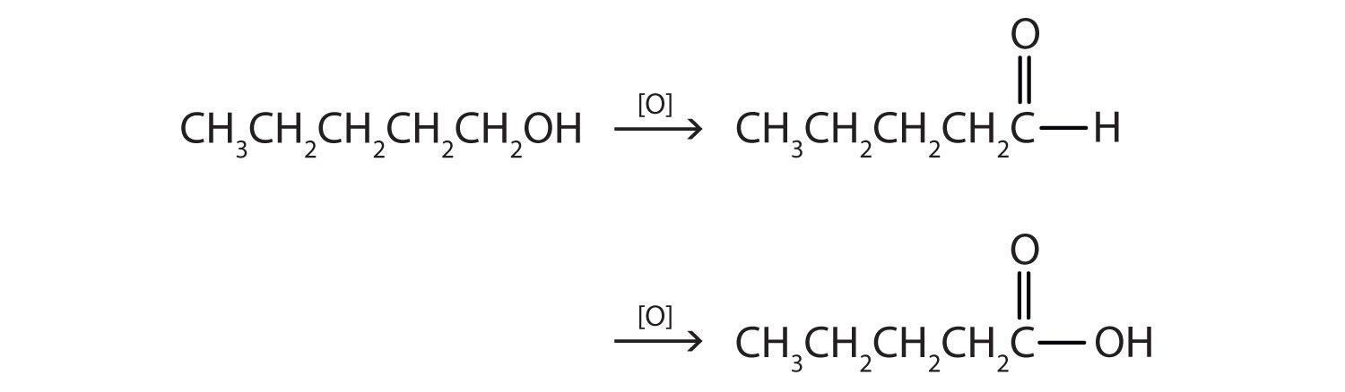 Five-Carbon primary alcohol undergoing oxidation. The reaction shows the intermediate and final product of this reaction. What is the product?