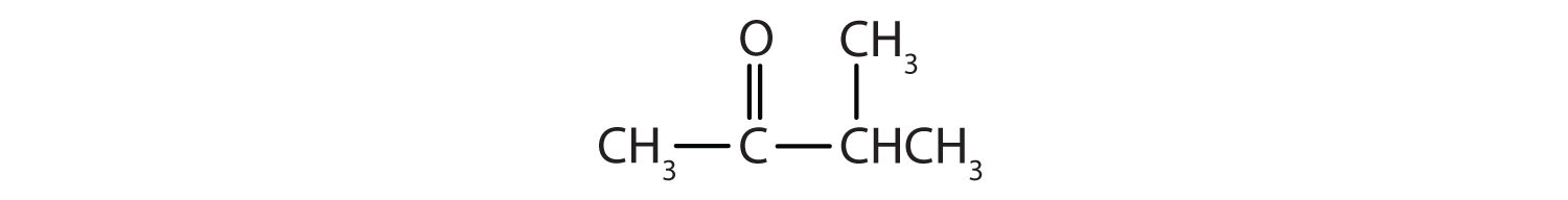 Condensed formula of a 4-Carbon ketone. There is an methyl radical attached to Carbon 3.