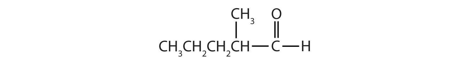 Condensed formula of a 5-Carbon aldehyde with a radical methyl attached to Carbon 2.