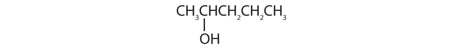Condensed formula of a 5-Carbon secondary alcohol. The functional group is attached to Carbon 2.