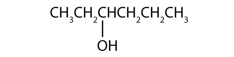 Condensed formula of a six-Carbon secondary alcohol with a functional group attached to Carbon 3.