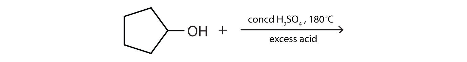 Five-Carbon cyclic alcohol undergoing reaction in the presence of high temperature and excess acid.