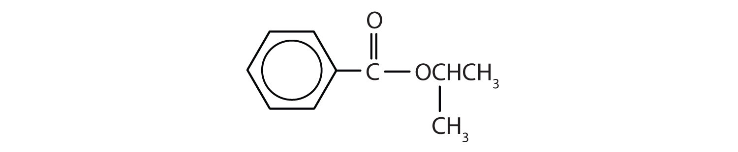Formula of an ester obtained by the reaction of benzoic acid and isopropyl alcohol.
