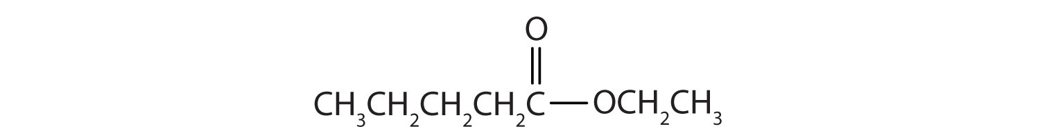 Formula of an ester obtained by the reaction of pentanoic acid and ethanol.