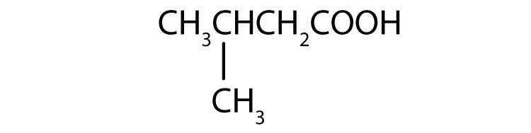 Condensed formula of a 4-Carbon organic acid with a radical methyl attached to group 2.