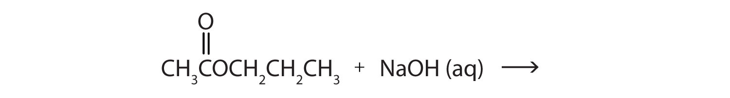 The reaction between Propyl acetate and Sodium hydroxide produces Sodium acetate and 1-propanol.