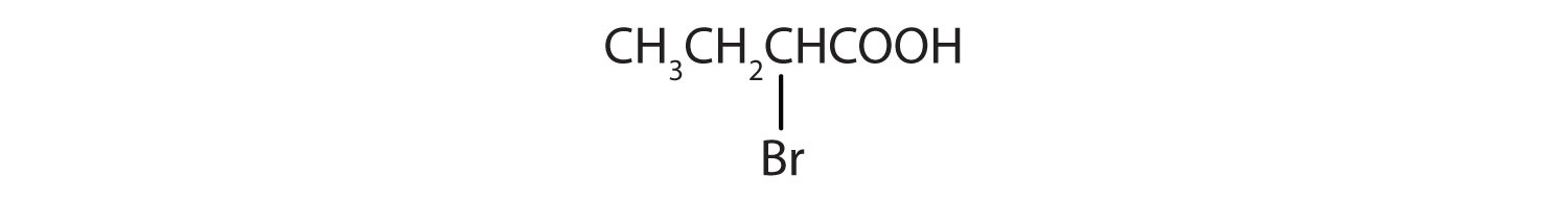 Condensed formula of 2-Bromo butanoic acid. Numbers are used to indicate the position of substituents.