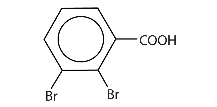 Formula of benzoic acid with radicals Bromine attached to Carbons 2 and 3.