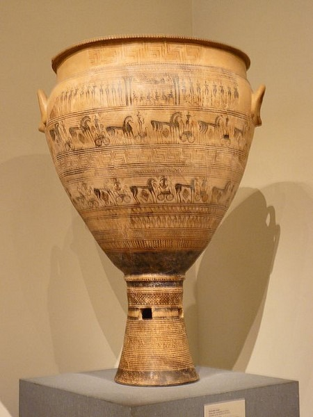 1 Based On Its Formal Attributes And What You Learned In The Course About  The Stylistic Developments Of Ancient Greek Art, When Was The Vessel Below  Produced? Choose One Answer. A. During The 8th Century B.C. B. During The  7th Century B.C. C. During The