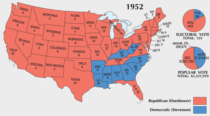 the former supreme allied commander even won a handful of southern states that had not voted republican