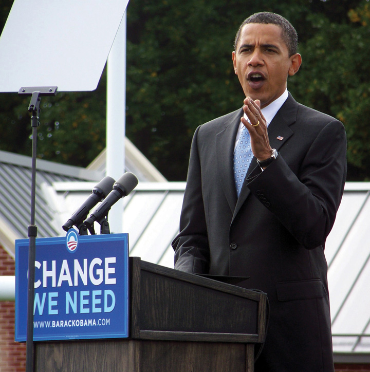 Presidential Candidate Barack Obama Reinforced His Campaign Slogan Change We Can Believe In During Trail Appearances 2008