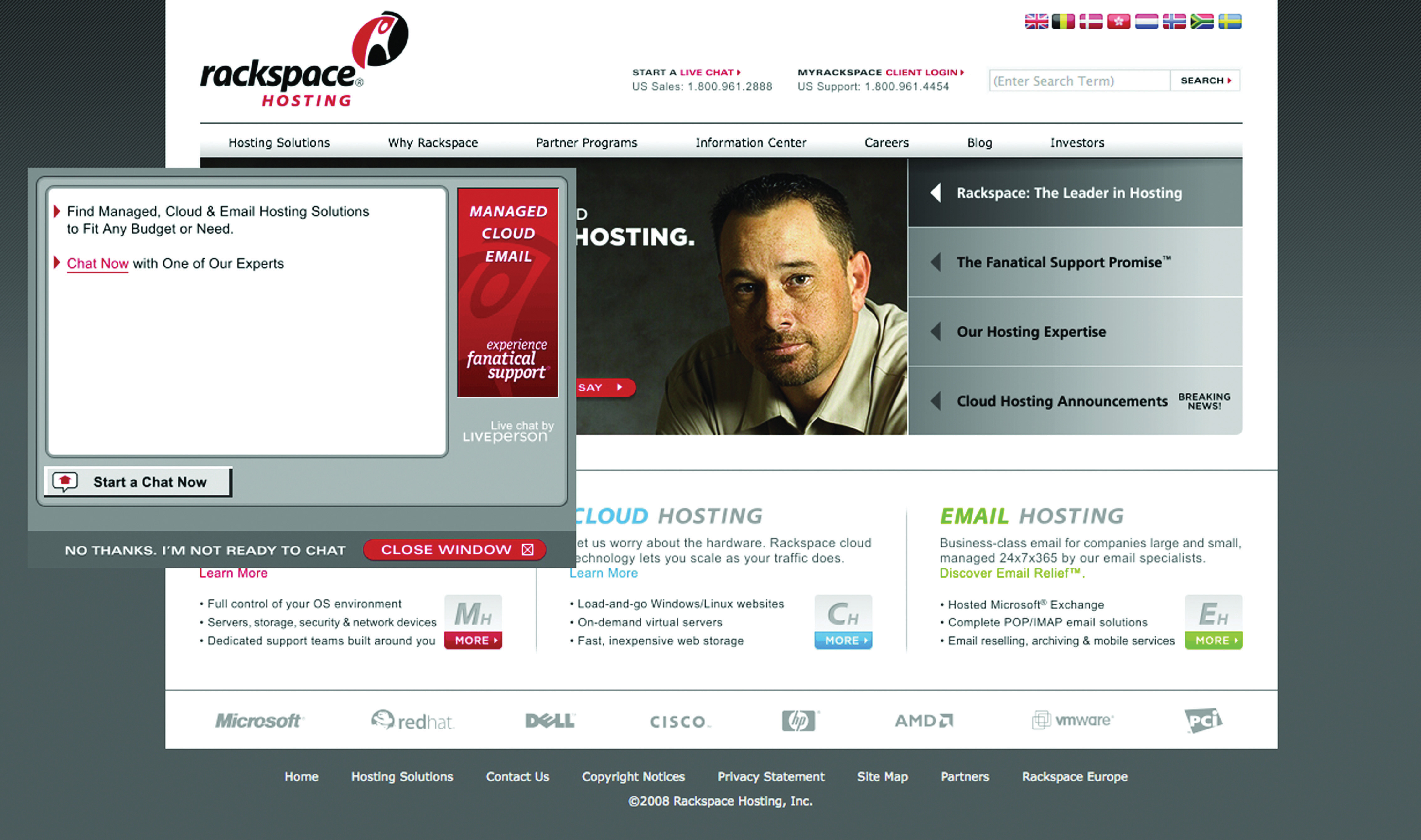 Example of an IM Pop-Up on the Rackspace Web Site