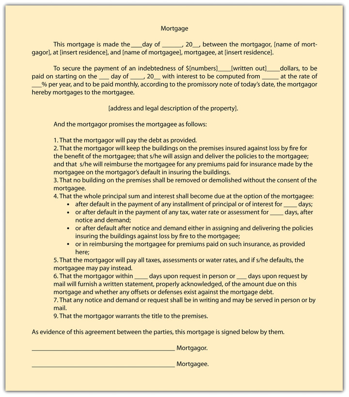 Key Takeaway  Mortgage Agreement Form