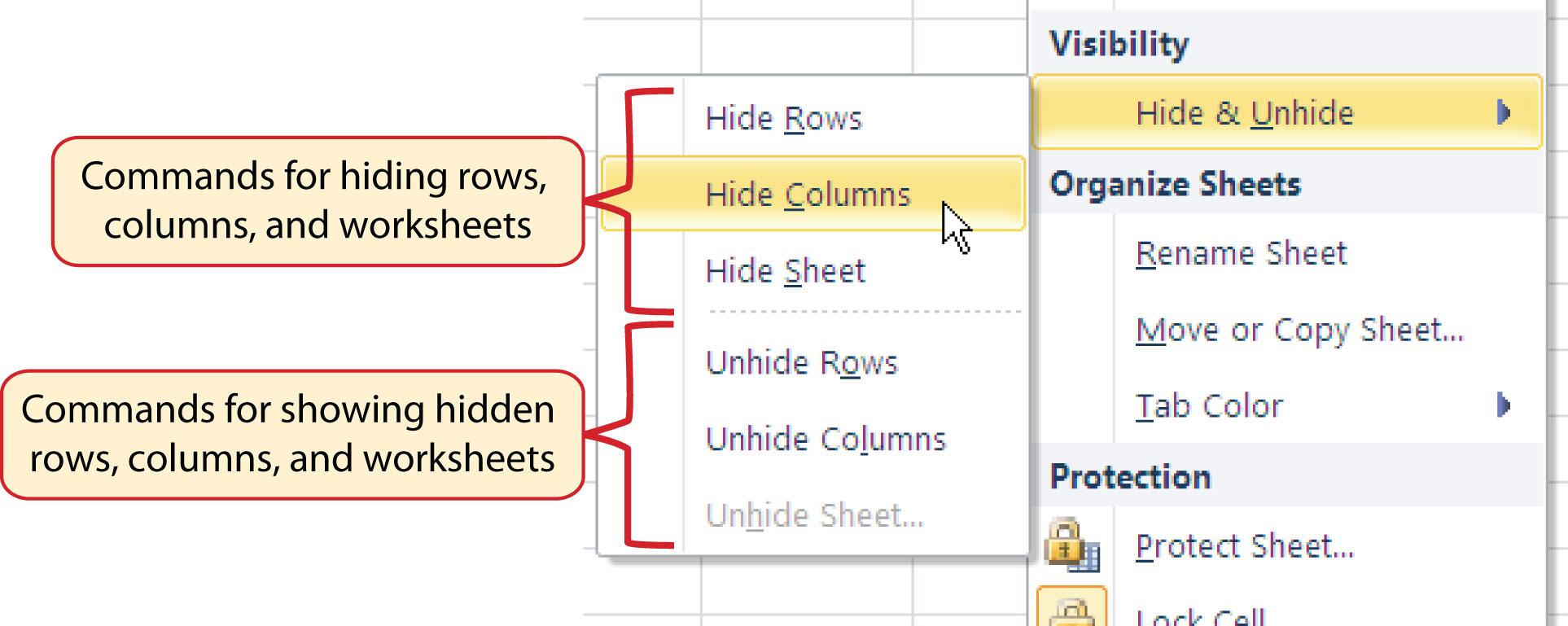 worksheet Excel Hide Worksheet entering editing and managing data figure 1 30 hide unhide submenu