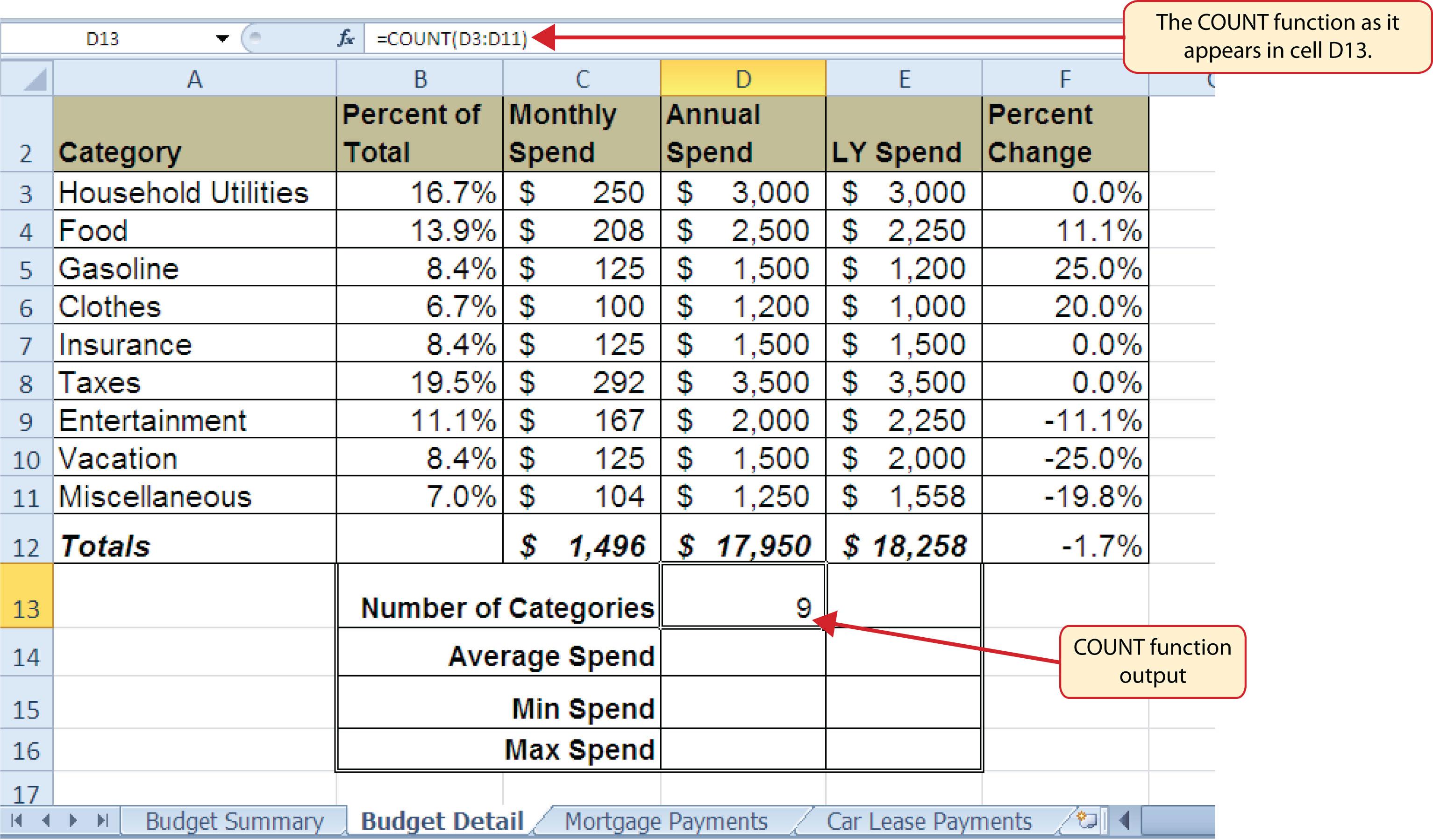 worksheet Excel Worksheet Function statistical functions the count function