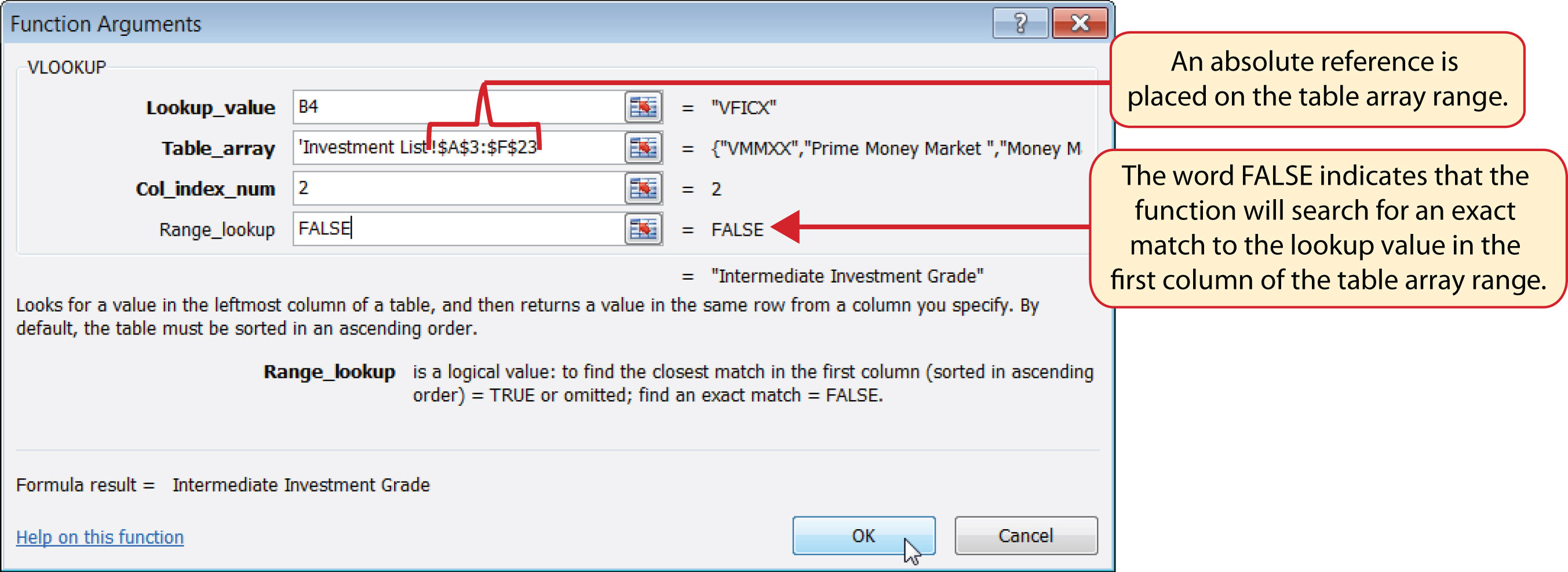 Figure 343pleted Function Arguments Dialog Box For The Vlookup Function