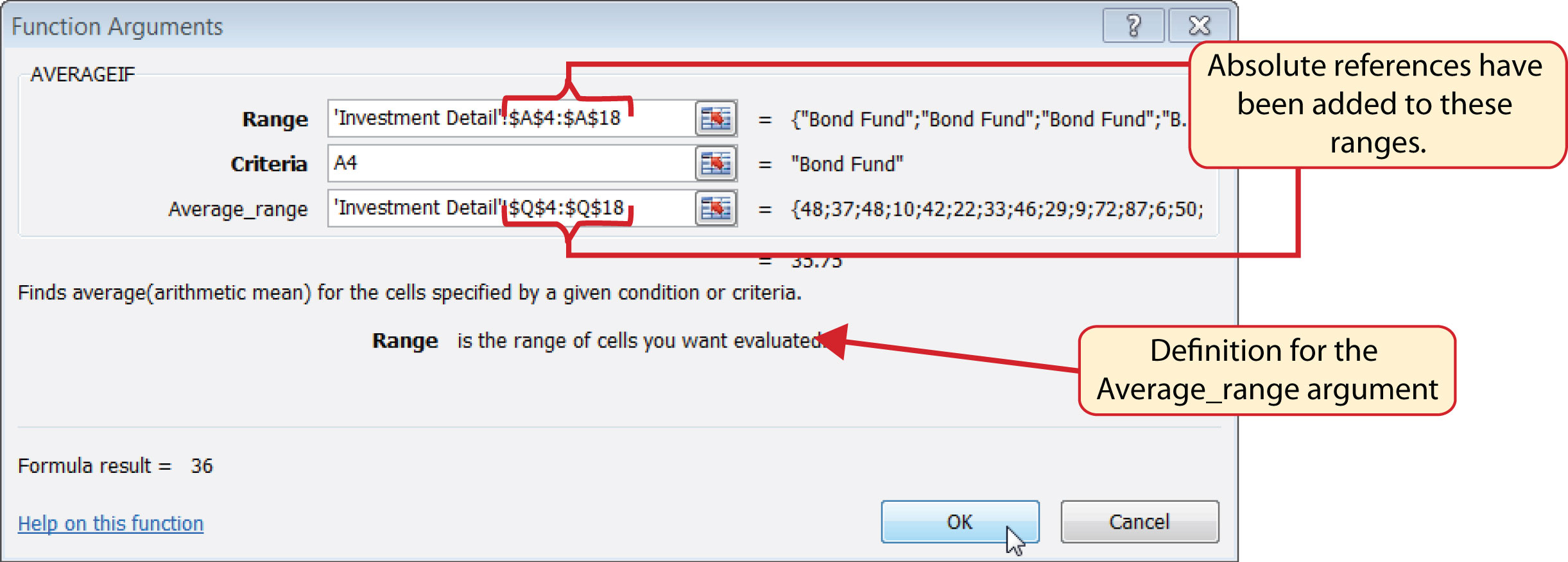 How To Find Range Names In Excel Figure 328 Defined Arguments For The  Averageif Function Statistical If Functions