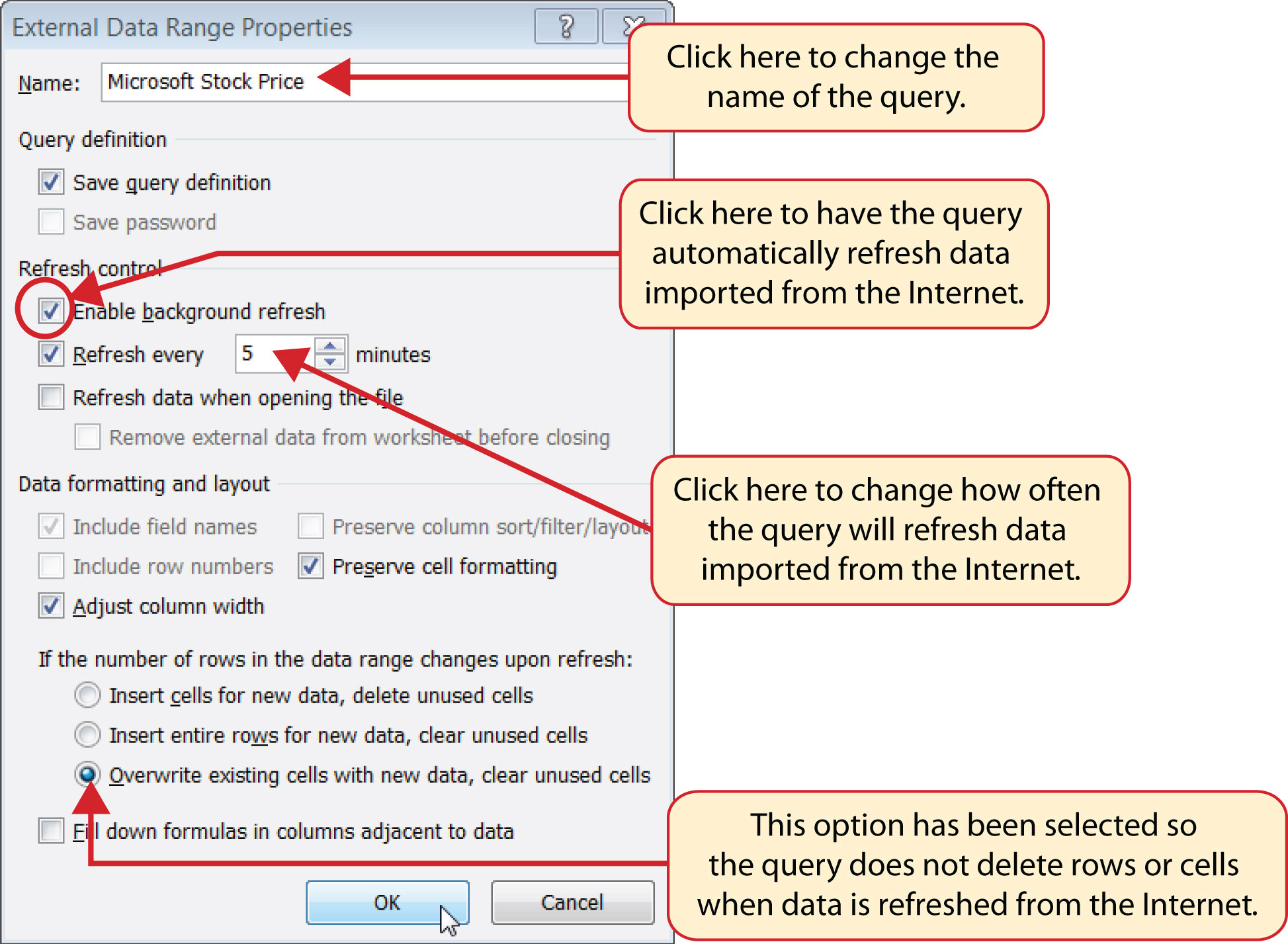 Figure 352 Final Settings For The External Data Range Properties Dialog Box  Lookup Functions How To