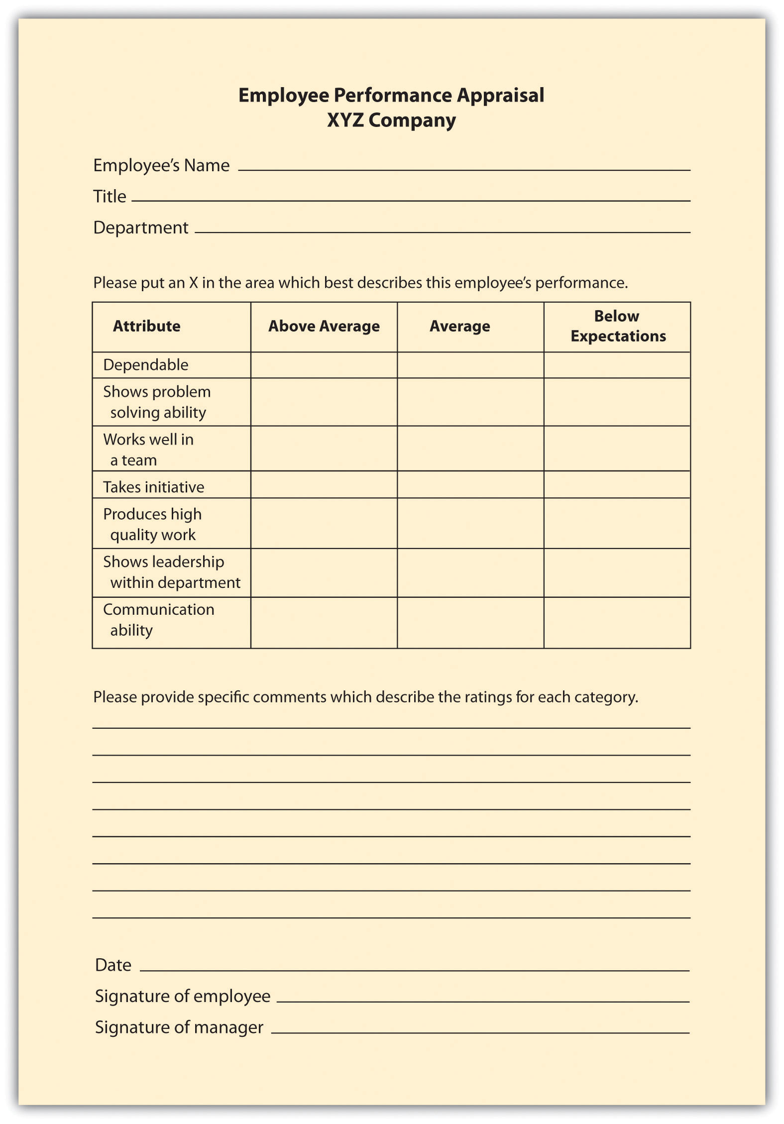 appraisal methods checklist scale