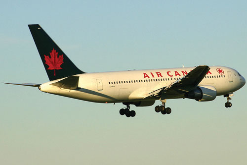 Air Canada airplane flying.