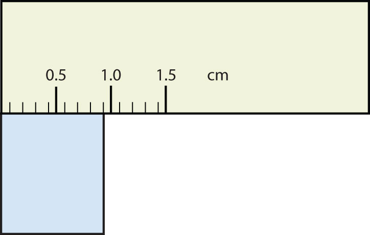 Ruler measuring rectangle that ends nine milimeter marks after zero.