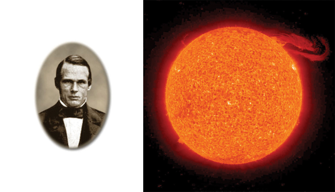 Photo of Swedish physicist Anders Jonas Ångstrom next to a photo of the Sun taken by NASA.