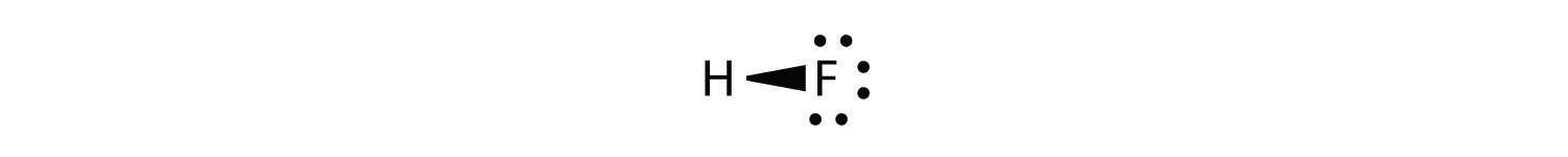 - The shared pairs of electrons in the covalent bond between Hydrogen and Fluorine are unequally shared. Fluorine has more elctronegativity than Hydrogen. Therefore, Fluorine atom attracts shared electrons strongly. The vector between both atoms indicates Fluorine atom atracts shared electron to itself.