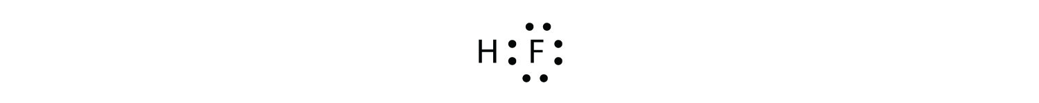 -The shared pairs of electrons in the covalent bond between Hydrogen and Fluorine are represented with dots