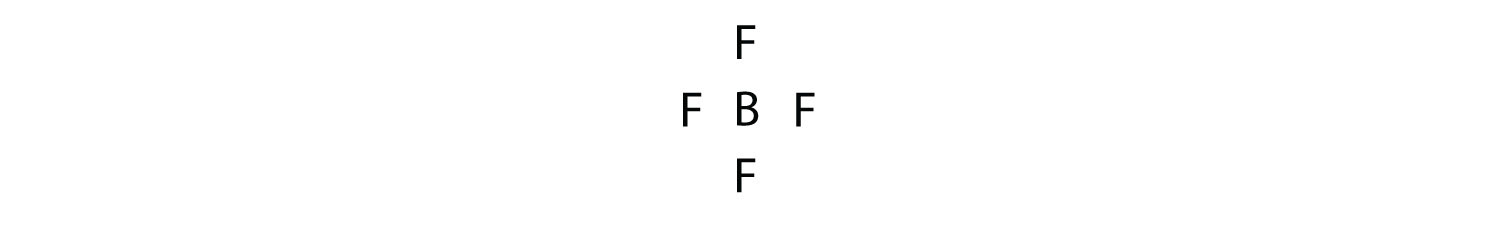 - A Bromine tetrafluoride molecule formed by four atoms of Fluorine and one atom of Bromine. The valence electrons involved in the covalent bonds are not shown.