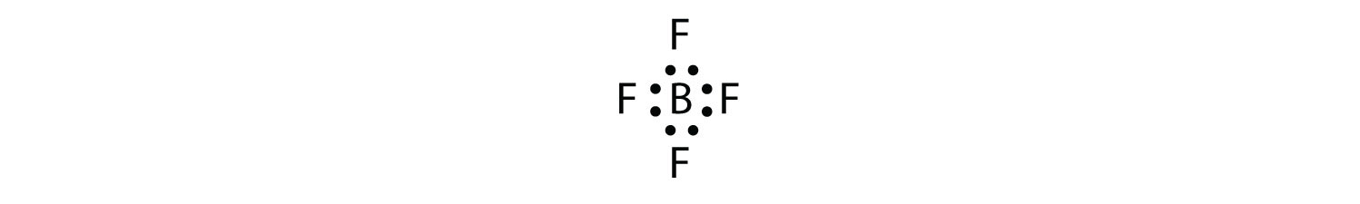 - A Bromine tetrafluoride molecule shows four pairs of shared electrons between Bromine and each of the four Fluorine atoms in the molecule. Each covalent bond is formed by two valence electrons, one from each Fluorine atom and one from Bromine. The lone pairs of electrons on Bromine and Fluorine atoms that are not part of the covalent bonds are not shown.