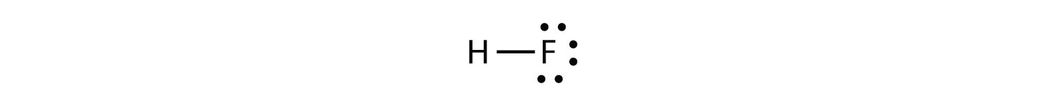 -The shared pairs of electrons in the covalent bond between Hydrogen and Fluorine are represented with a line.
