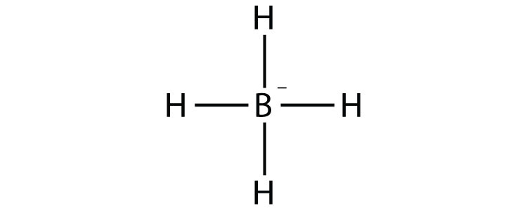 Single covalent bonds between Hydrogen (H) and Boron in the Tetraborohydride ion (BH4-) are shown by lines.