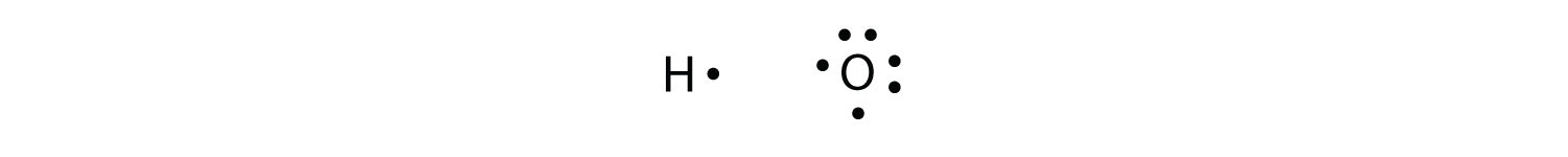 - A Lewis structure of Hydrogen and Oxygen atoms showing valence electrons