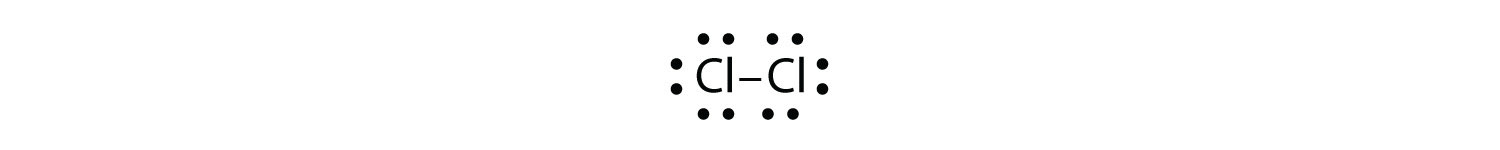 - A Chlorine molecule shows one pair of shared electrons by both atoms (covalent bond/short line). The molecule has one single covalent bond formed by two valence electrons, one from each Chlorine atom.The lone pairs of electrons on both Chlorine atoms that are not part of the covalent bond are also shown.