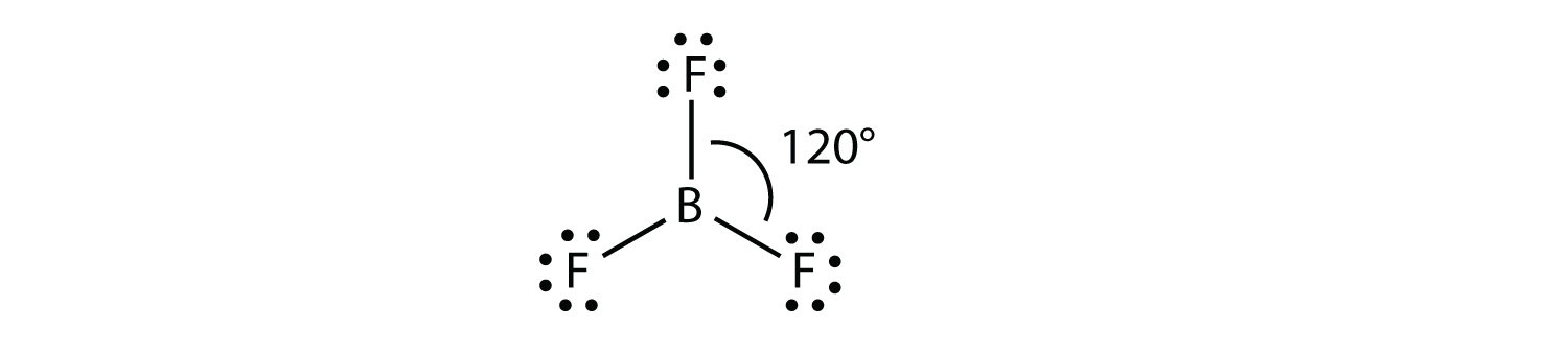 These molecules have three electron groups that are oriented as far as possible. The resulting moelecule shape is a trigonal planar. The groups are 120 degrees apart.