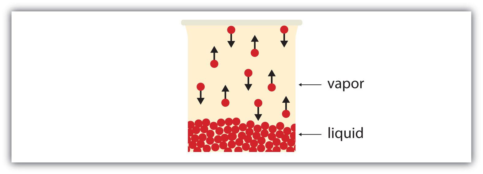 Diagram of equilibrium in evaporation