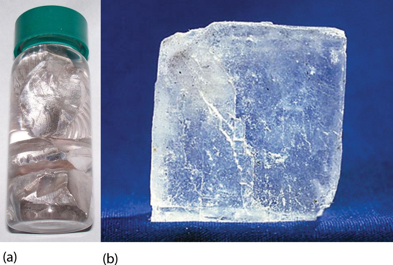 Photos of sodium metal and sodium chloride.