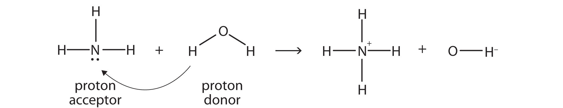The ammonia acts like a Bronsted-Lowry base, as it generates OH- and water acts like a Bronsted-Lowry acid.