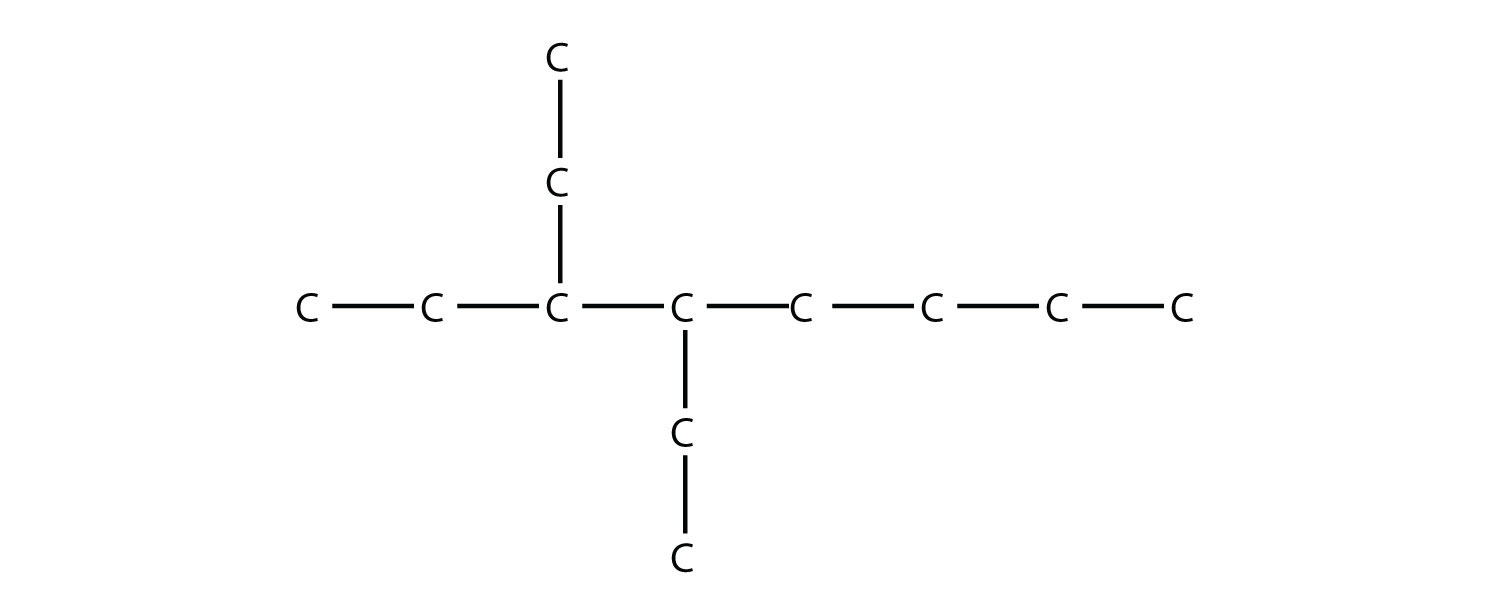Structural formula of 3,4-diethyl-octane.