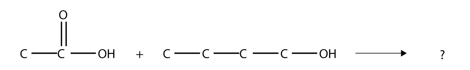 The reaction of ethanoic acid with 1-butanol produces the ester proply butanoate.