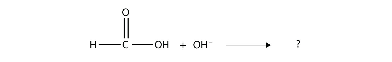 - The reaction of an organic acid Methanoic acid (acetic acid) with a base (functional group Hydroxyl) produces the corresponding salt ion: Methanoate ion and water