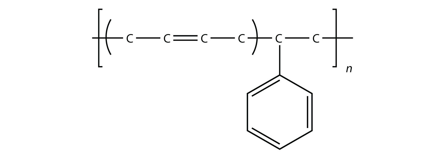 Example of polymer formed from more than one type of monomer. Ethylene and propylene are the monomers in this example.