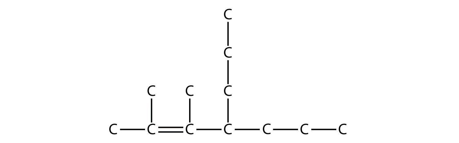 - Structural formula of 2,3-dimethyl-4-propyl-2-heptene.