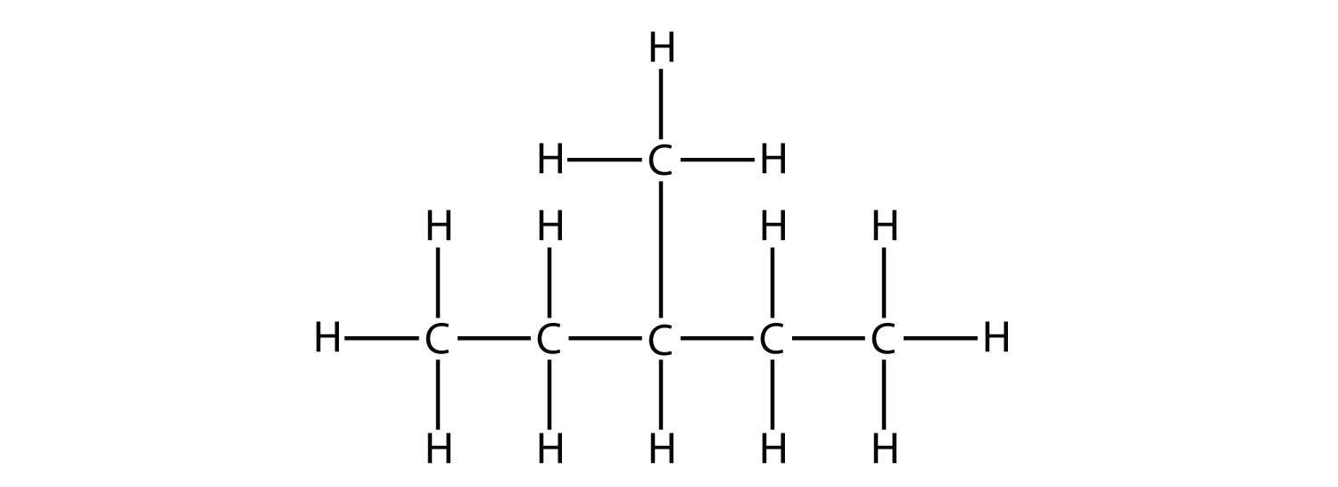 Structural formula of 3-methyl-pentane.