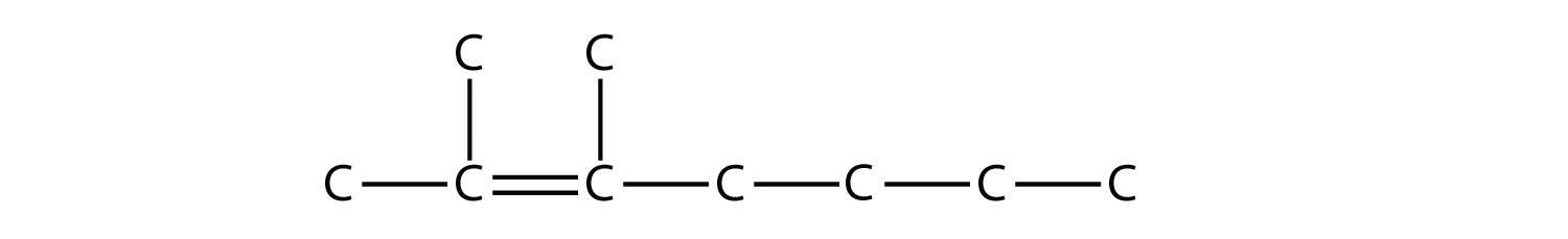 - Structural formula of 2,3-dimetyl-heptene. - Structural formula of 2-heptene. The single bonds between Hydrdogen and Carbon are not represented. The position of the radicals and double bond are indicated in the compound formula name.