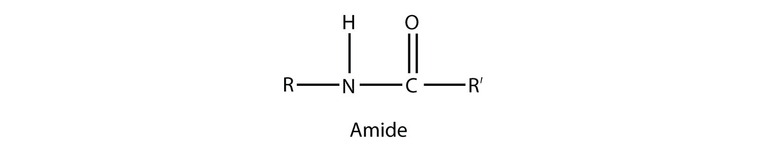 General formula of organic compound family amide: the functional group is formed by a Nitrogen of the aminge group bounded to a Carbon of the Carboxyl group