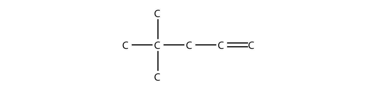 Structural formula of 4,4-dimethyl-1-pentene.   The single bonds between Hydrdogen and Carbon are not represented in all cases. The position of the radicals and non-single bonds are indicated in the compound formula names