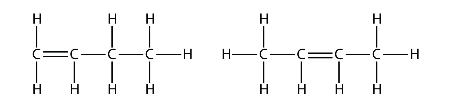 Structural Formula of -1-butene and 2 butene